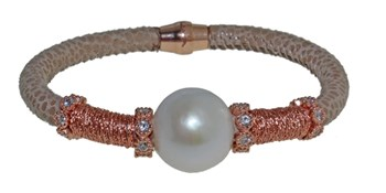 BRACELET LEATHER, STEEL AND PEARL BRB69-8 LUCA LORENZINI