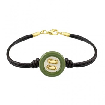 Siamo in leather and button bracelet