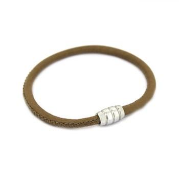 En cuir kaki et bracelet argent 19 cm 60P 99-20 60P99-20 Stradda