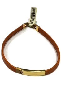 Leather with gold plate bracelet