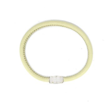 BRACELET LEATHER CREAM AND SILVER 19CM 60P99-18 Stradda