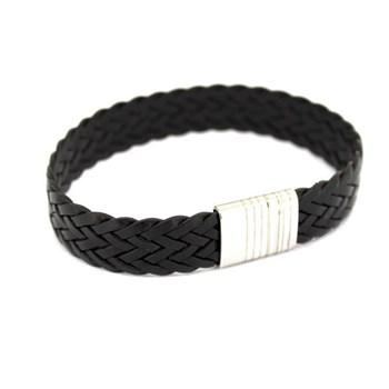 Cuir brun et d\'argent bracelet 20 cm 60P 99-13 60P99-13 Stradda