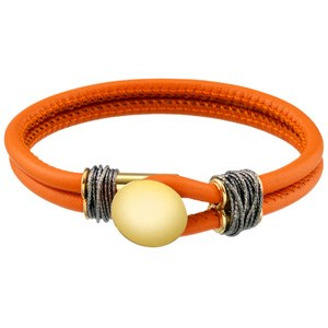 Siamo Orange Leather Bracelet