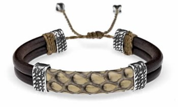 BRACELET LEATHER SKIN COBRA SP3ATL SILVER OF PALO Plata de palo