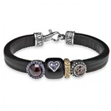 BRACELET LEATHER SILVER BRASS CUBIC ZIRCONIA GARNET RESIN CB20AT19 SILVER STICK Plata de palo
