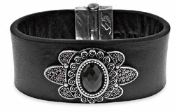 BRACELET LEATHER SILVER AND QUARTZ BRA4T19 SILVER OF PALO Plata de palo