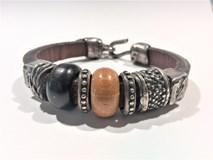BRACELET LEATHER SILVER WOOD L15FT19 SILVER OF PALO Plata de palo
