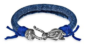LEATHER BRACELET DENIM BLUE SILK AND SILVER WITH HORSE CB27BT22 SILVER STICK Plata de palo