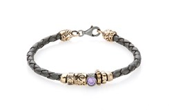 BRACELET BRAIDED LEATHER SILVER GRAY OF THE LAW, CUBIC ZIRCONIA VIOLET MOSQUETON 3LWP5T17 SILVER STICK Plata de palo