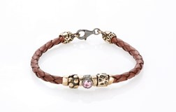 BRACELET BRAIDED LEATHER BROWN SILVER BRASS CUBIC ZIRCONIA TEXTURES 3LWP6 T17 SILVER STICK Plata de palo