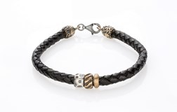 BRACELET LEATHER BRAIDED BLACK BEADS BRONZE SILVER TEXTURE MOSQUETON 3LMP3T19 SILVER STICK