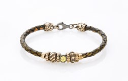 BRACELET BRAIDED LEATHER PAINTED TEXTURE YELLOW GREEN STERLING SILVER BRASS CUBIC ZIRCONIA GREEN GLOW 3LWP4T18 SILVER STICK