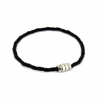 Bracelet en cuir et argent 19 cm noire 60P 99-1  60P99-1  Stradda