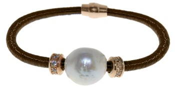 BROWN AND PEARL BR.1BRS/2 STEEL BRACELET LUCA LORENZINI
