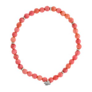 BRACELET OF CORAL WITH CROSS OF ZIRCONITAS SILVER LAW