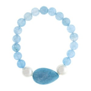 QUARTZ BRACELET BLUE WITH ENTREPIEZA AND CULTURED PEARLS 15-4073