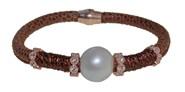 Pulsera de cuero acero y perla BRB69-6 LUCA LORENZINI