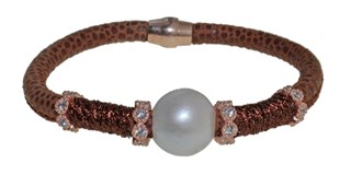 STEEL LEATHER BRACELET AND PEARL BRB69-6 LUCA LORENZINI