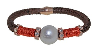 STEEL LEATHER BRACELET AND PEARL BRB69-3 LUCA LORENZINI
