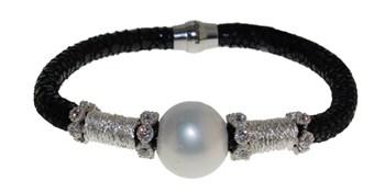 Pulsera de cuero acero y perla BRB69-1 LUCA LORENZINI