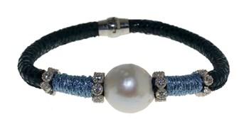 Pulsera de cuero acero y perla BRB69-2 LUCA LORENZINI