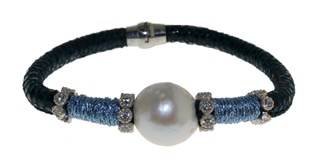 STEEL LEATHER BRACELET AND PEARL BRB69-2 LUCA LORENZINI