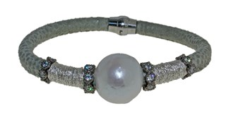 STEEL LEATHER BRACELET AND PEARL BRB69-5 LUCA LORENZINI