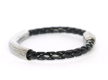 0140 BLACK LEATHER BRACELET Pesavento