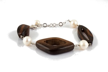 Ebony and cultured pearl bracelet