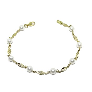 BRACELET 18K YELLOW GOLD SPECIAL COMMUNITY�N ESLAB�N FILIGREE AND 8 CULTURED PEARLS OF 5MM. NEVER SAY NEVER