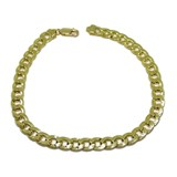 BRACELET 18K YELLOW GOLD MENS TYPE CURB 22.00 CM LONG, 8MM WIDE, AND 10.30 G NEVER SAY NEVER