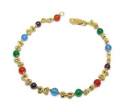 YELLOW GOLD BRACELET 18KTES WITH TIES AND COLOURED STONES. 19.5 CM NEVER SAY NEVER