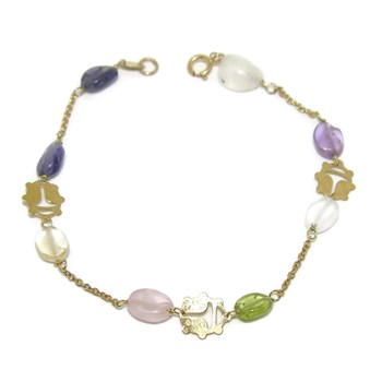 YELLOW GOLD BRACELET 18KTES WITH STONE\'S NATURAL COLOR NEVER SAY NEVER