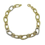 BRACELET OF YELLOW GOLD AND WHITE GOLD 18KTES WITH OVALS AND DOUBLE CHAIN. 19CM NEVER SAY NEVER