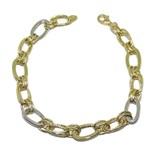 Pulsera de oro amarillo y oro blanco de 18Ktes con óvalos y cadena doble. 19cm Never say never