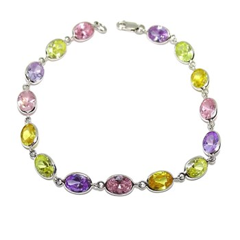 BRACELET OF WHITE GOLD 18K WITH 15 ZIRCONS COLOR 8MM BY 6MM. 19.50 CM AND CLOSE MOSQUET�N D NEVER SAY NEVER