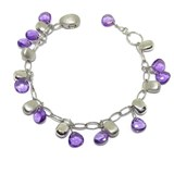 BRACELET IN 18K WHITE GOLD WITH AMETHYSTS AND GOLD NUGGETS. 18.00 CM HIDDEN CLASP NEVER SAY NEVER