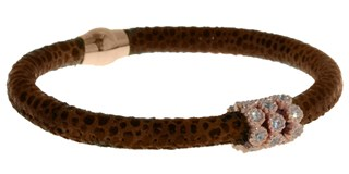 With stones BRB47-6 Brown Leather Bracelet LUCA LORENZINI