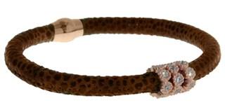 Avec des pierres, Bracelet en cuir brun de BRB47-6 LUCA LORENZINI