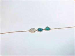 pulsera de plata chapada en oro rosa 3 piedras - Artesanal - ppul17091