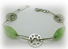 SILVER BRACELET WITH 2 GREEN STONES
