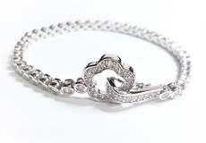 SILVER BRACELET RHODIUM-PLATED WITH ZIRCONS - OWN - PR-2028