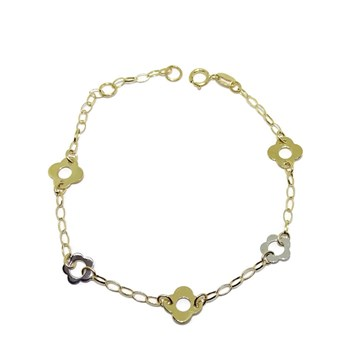 BRACELET OF YELLOW GOLD AND WHITE GOLD 18KTES WITH FLOWERS. 17.5 CM NEVER SAY NEVER