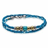 BRACELET, DOUBLE COTTON AND BLUE SILK WITH BRONZE AND RESIN TURQUOISE CB29BT21 SILVER STICK Plata de palo