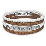 BRACELET DOUBLE BALL WHITE RESIN STERLING SILVER LEATHER DARE LOVE DREAM BELIEVE THINK CB51T18 SILVER STICK Plata de palo