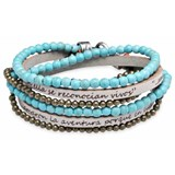 BRACELET DOUBLE BEAD TURQUOISE BEAD BRASS LEATHER SKIN STERLING SILVER CB18CT19 SILVER STICK Plata de palo