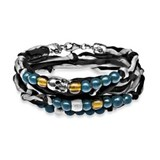 BRACELET DOUBLE SKULL SILK BLACK GREY BLUE GLASS SILVER SK3T19 SILVER STICK Plata de palo