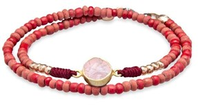 BRACELET DOUBLE RED CRYSTAL AND ROSE QUARTZ TB10DT21 SILVER STICK Plata de palo