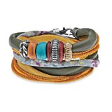 BRACELET DOUBLE LEATHER RESIN SILVER BRONZE SILK TB2BT19 SILVER OF PALO Plata de palo