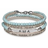 BRACELET DOUBLE STONE TURQUOISE STERLING SILVER LOVES SKIN LEATHER CB47T18 SILVER STICK Plata de palo